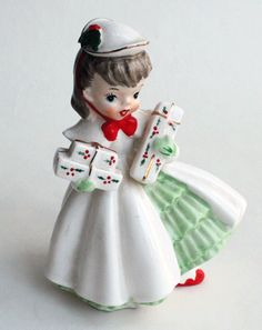 Napco Christmas Girl, Ceramic Figurine