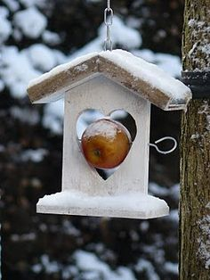 Such a cute idea, to pin the apple inside the heart for the birds. <3