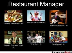 Restaurant Manager... - What people think I do, what I really do - Perception Vs Fact