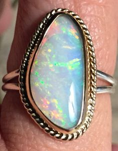Glorious Australian Lambina Crystal Opal Ring Set in 14k Gold and Sterling…