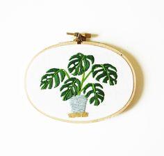 Modern Hoop Art Monstera Plant in Pot Oval by SarahKBenning