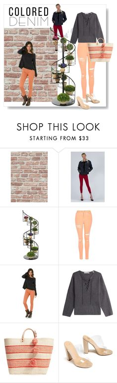 """""""colored denim"""" by citychiclifestyle ❤ liked on Polyvore featuring Siwy, Topshop, RVCA, Vince, Mar y Sol and coloredjeans"""