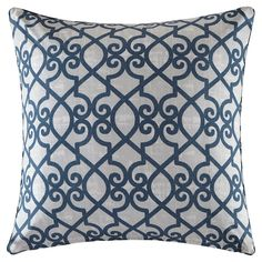 Pismo Printed Fretwork 3M Scotchgard Outdoor Pillow Navy (Blue) - 20x20