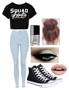 """""""Squad"""" by salty-sara ❤ liked on Polyvore featuring Topshop, Boohoo, Converse, Nevermind and Chanel"""