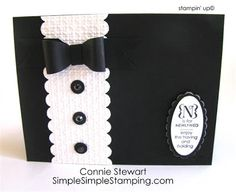 www.SimplySimpleStamping.com - Flash Card 2.0 Series - Tuxedo card by Connie Stewart