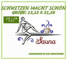 Stickmuster - Stickdatei / Stickmuster Sauna, Frau, Schwitzen gr - ein Designerstück von Forstis-Stickwelt bei DaWanda