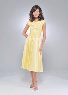 Sweet Daffodil Short Sleeves Pleated Tea Length Satin Mother Of Groom And Bride Dress On A Perfect The Dresses With High Quality