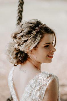 Soft bridal up-do with boho crown