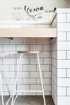Stools & subway tiles.