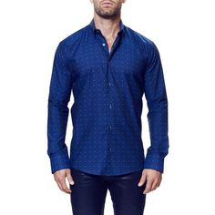 Men's Maceoo 'Kali' Trim Fit Long Sleeve Sport Shirt ($159) ❤ liked on Polyvore featuring men's fashion, men's clothing, men's shirts, men's casual shirts, navy blue, mens sport shirts, old navy mens shirts, mens sports shirts, mens longsleeve shirts and mens navy button down shirt