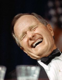 George H.W. Bush, shown at the 1990 White House Correspondents' Dinner, was an expert in black tie hobnobbing.
