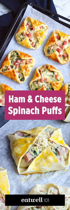 Ham Cheese & Spinach Puffs - - Wow your guests for your next brunch at home with these crisp and melty bites. - : Ham Cheese & Spinach Puffs - - Wow your guests for your next brunch at home with these crisp and melty bites. Spinach Puffs Recipe, Puff Recipe, Snacks Für Party, Party Appetizers, Easy Kid Party Food, Nibbles For Party, Best Party Food, Appetizer Recipes, Sandwich Recipes