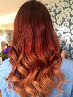 Red to Copper Balayage Ombre Hair