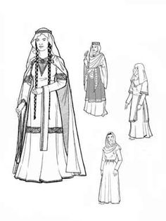 """1060-1150 Women of Medieval Romanesque Period """"This pattern includes everything needed for a woman's clothing for a Norman or Norman-styled (aka Romanesque) noble or a peasant from 1060-1150. Chainse (chemise) Cotte (tunic) Bliaut (over-tunic) in two lengths with 3 styles of sleeves and neck openings Instructions for mantle (cape), circlet, wimple and veils."""""""