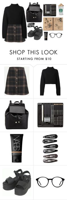 """WENGUE"" by cooltured ❤ liked on Polyvore featuring DKNY, Barneys New York, NARS Cosmetics, Clips, Dr. Martens and vintage"
