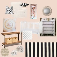 Black White Peachy Pink Beach Nursery Ideas | Cute & Co.