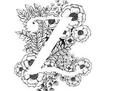 Letter Z afdrukken - alfabet, kalligrafie, typografie, Monogram, bloemen - zwart-witte inkt kunst print