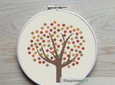 cross stitch pattern tree fall autumn pattern PDF von Happinesst