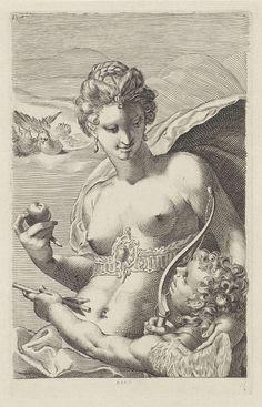 Dirk Jurriaan Sluyter | Venus en Cupido, Dirk Jurriaan Sluyter, Jan Saenredam, 1826 - 1886 | Cupido, met pijl en boog in de hand, kijkt op naar Venus, die haar hand op zijn schouders legt. Haar mantel bolt op in de wind. Twee duiven kijken toe vanaf een wolk.
