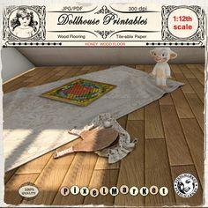 Herringbone Parquet Floor Paper Dolls House Miniature Flooring 1.12th Scale