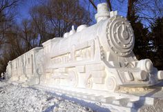 Train Snow Sculpture: This is just one of several images of snow sculptures. You can find more links to snow sculptures on my Art in Sculpture board too. I pinned this one to Art in the Real World. Snow Sculptures, Art Sculpture, Sculpture Ideas, Harbin, Winter Wonder, Winter Fun, Amazing Photo Gallery, Ice Art, I Love Snow