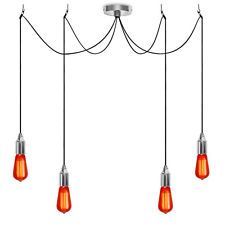 Chrome 4 Way Ceiling Pendant Light Lampholder Cluster Fitting Red Vintage Bulbs