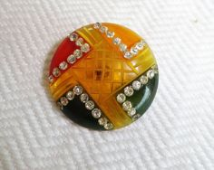 1940s Bakelite Button - 4 Color Vintage Cookie with Rhinestones