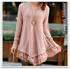 COWGIRL STYLE SWEATER Pink Lace Long Sleeve Knit Sweater