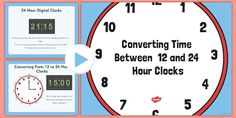 These PowerPoint 12 and clock worksheets teach your students how to convert between 12 hours and time. Ideal for Year 5 and 6 Maths classes. 24 Hour Clock Worksheets, 12 Hour Clock, Math Class, Maths, Digital Clocks, Student Learning, Thing 1 Thing 2, Kids And Parenting, Teaching Resources
