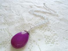 Amethyst pendant necklace Gemstone Silver chain necklace