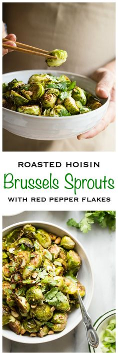 Roasted brussels sprouts with hoisin sauce and Chinese five spice. An amazing twist on a tasty vegetable - Foodness Gracious