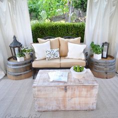 Patio Wine Barrel Table Design...now we just need to empty a barrel of wine! :)