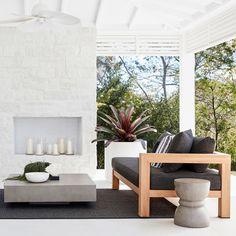 A coastal modern design, the Radan Outdoor Modular Sofa completes any alfresco l. A coastal modern Concrete Coffee Table, Outdoor Coffee Tables, Outdoor Lounge, Outdoor Rooms, Outdoor Dining, Modern Outdoor Living, Outdoor Glider, Diy Outdoor Furniture, Furniture Ideas