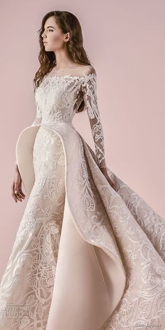 2018 bridal long sleeves illusion bateau off the shoulder neckline full embellishment pepblum glamorous princess a line wedding dress chapel train zv -- Saiid Kobeisy 2018 Wedding Dresses Country Wedding Dresses, Long Wedding Dresses, Princess Wedding Dresses, Boho Wedding Dress, Bridal Dresses, Cinderella Wedding, Modest Wedding, Dresses Dresses, Gown Wedding