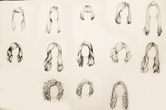 Desenhando estilos diferentes de cabelos.