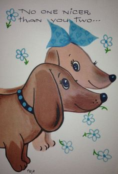 Vintage dachshund greeting card