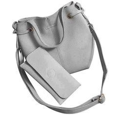 2 Pcs Women Bags Leather Litchi Stria Shoulder Bag+Clutch Wallet Ladies Phone Bag