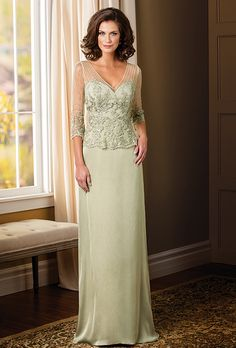 Brides: Jade Couture. This extravagant gown is a great option for your next special occasion. This dress features a classic silhouette of a V-neckline and an A-line skirt. The beading and lace detail on the bodice of this dress sets it apart from the rest.