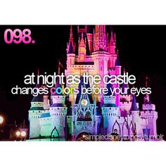 Simple Disney Things - At night as the castle changes colors before your eyes.