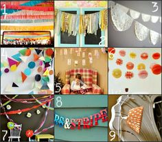 Streamers!  Number 9- cupcake papers!  Brillant!
