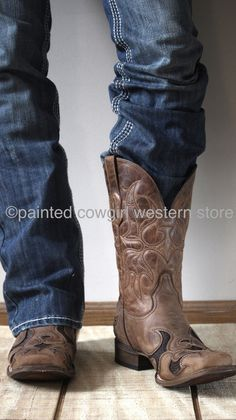 Corral Men's Brown Eagle Embroidered Ostrich Inlay Sq Toe Boot A2951