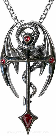 'Draconkreuz' necklace pendant with Swarovski crystals, by Alchemy Gothic.