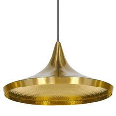 Tom Dixon Beat Wide Pendant Lamp, Brass - A solid brushed brass version of the famous original Beat Light. Without a contrasting exterior finish, Beat is left in its purest form – a warm . Brass Pendant Light, Pendant Lamp, Pendant Lighting, Ceiling Rose, Ceiling Lights, Tom Dixon Beat, Turn The Lights Off, Gold Interior, Luminaire Design