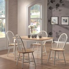 Farmhouse Dining Room Chairs Set of 4 Windsor Spindle Back Wood Cottage Kitchen #Coaster #FarmhouseCountryCottage