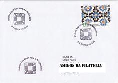 Sobrescrito circulado de Lisboa para Estoi com carimbo de 1.º dia alusivo ao Prémio Aga Khan. Selo de 0,80€ referente à série de selos Prémio Aga Khan