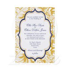 Blue and Yellow Damask Wedding invitations