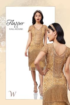 If you want to feel like a fabulous flapper who is ready to take on the town, dressing up in the Edith Flapper Style Fringe Dress in Gold will suit you to perfection. The only thing more breathtaking than the intricate embellishments are the rows of beadwork that add sparkle and shine to every shimmy and shake...
