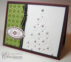 """Stampin' Up! ... handmade Christmas card .... embossing folder poinsettia texture ... tree shaped using the """"partial embossing"""" technique ... like it!"""