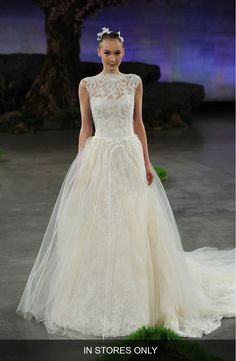 Main Image - Ines Di Santo 'Margeaux' Lace Tulle & Organza Ballgown Overskirt with Detachable Train (In Stores Only)