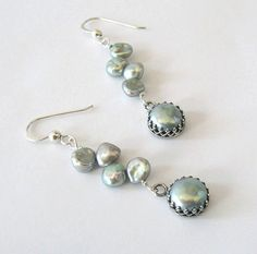 Lovely! Keishi Pearl Earrings with Crown Set by SendingLoveGallery on Etsy